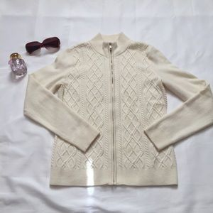 TALBOTS lambwool cable knit cardigan - SP